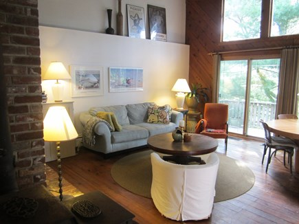 Brewster, Blueberry Pond Cape Cod vacation rental - Large, cathedral ceiling living room with sliders onto the deck..
