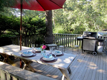 Brewster, Blueberry Pond Cape Cod vacation rental - Front LR/kitchen sliders give onto large front deck with grill.