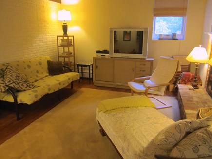 Brewster, Blueberry Pond Cape Cod vacation rental - ....quiet back family room with fireplace, TV, DVD and...