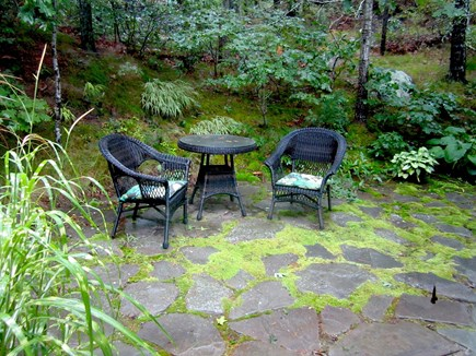 Brewster, Blueberry Pond Cape Cod vacation rental - ...a magical, quiet and cool patio.