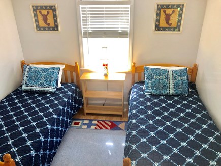 Brewster Cape Cod vacation rental - Blue bedroom with lots of light and AC unit.