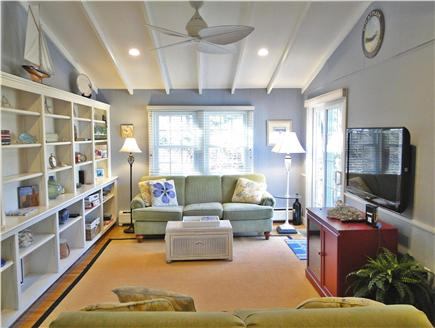 Chatham Cape Cod vacation rental - Family room with vaulted ceiling, flat screen TV, door to deck
