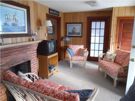 Falmouth, Maravista / Bristol Beach Cape Cod vacation rental - Living room view from stairs towards sunroom