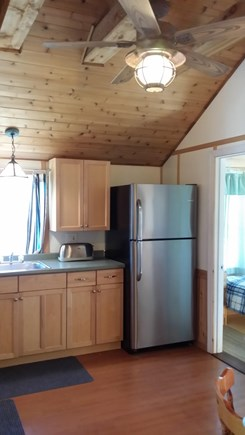 Plymouth, White Horse Beach MA vacation rental - Large Kitchen with cedar ceiling, and round table that seats 6.