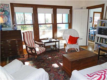 Woods Hole Woods Hole vacation rental - Living room with couch, water view, library