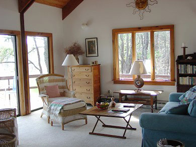 Wellfleet Cape Cod vacation rental - Sunny and comfy open plan living area opens onto deck.
