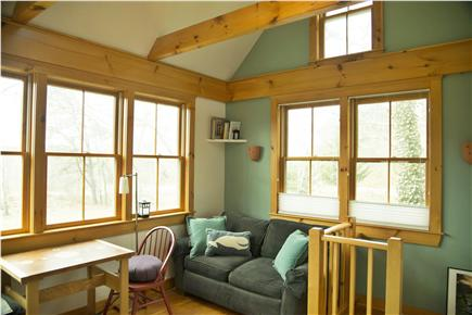 Wellfleet Cape Cod vacation rental - Living area, cathedral ceiling, opens onto deck