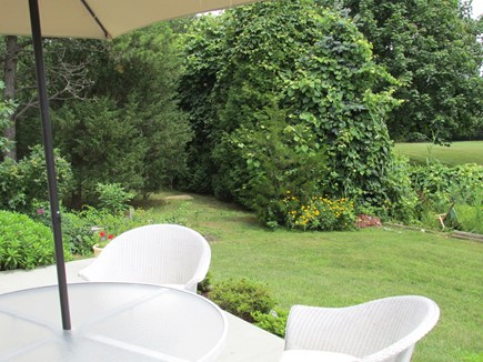 N. Falmouth Cape Cod vacation rental - Peaceful alfresco dining on backyard patio