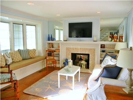 Barnstable Village Cape Cod vacation rental - Inviting beach decor and flat screen TV in the new living room