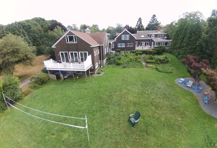 Plymouth MA vacation rental - Aerial view of the house and barn