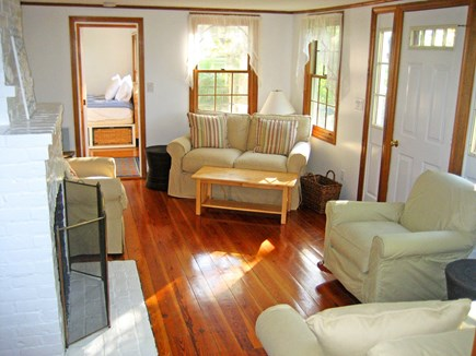 Falmouth, Old Silver Beach Cape Cod vacation rental - Central A/C and comfy seating for 6 in a bright, cozy living room