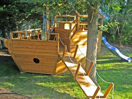 Falmouth Cape Cod vacation rental - Beware of pirates on the backyard ship and swings