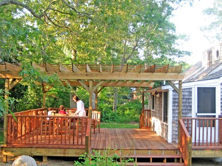 Falmouth Cape Cod vacation rental - Shady, al fresco dining for 8 at Old Silver Beach