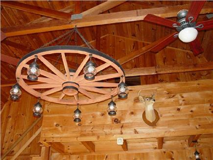 Chatham Cape Cod vacation rental - Cathedral ceiling with wagonwheel chandelier