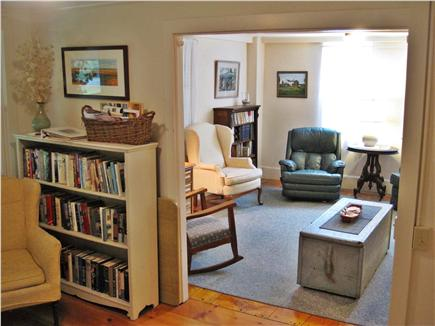 West Brewster Cape Cod vacation rental - Sunny living room and plenty of great books