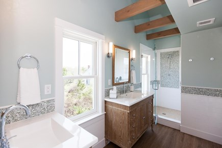 Barnstable Village Cape Cod vacation rental - Second master suite bathroom, double sinks, tiled shower