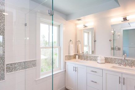Barnstable Village Cape Cod vacation rental - Master suite bathroom, double sinks, tiled shower