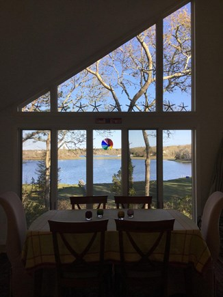 Falmouth, Waquoit Bay Cape Cod vacation rental - Dining room flows from family room and overlooks Hamblin Pond
