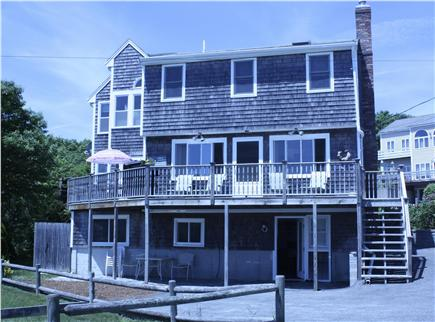Plymouth MA vacation rental - Rear View of house facing the ocean with wrap around deck