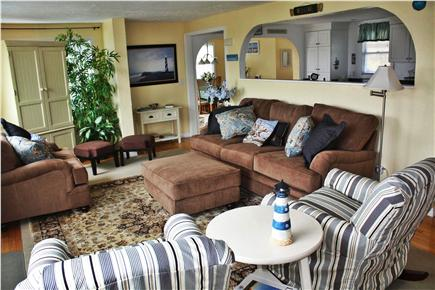 Plymouth MA vacation rental - Living Room with ocean view and opening to the kitchen