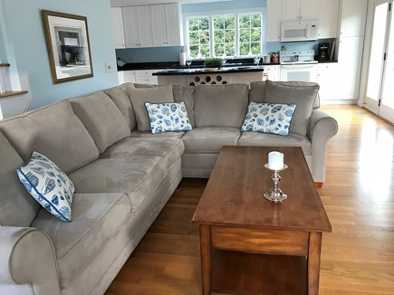 Chatham Cape Cod vacation rental - Open Living Room & Kitchen, French doors to Deck