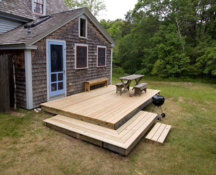 'The Back Woods,'  Wellfleet Cape Cod vacation rental - Deck outside Kitchen, great for breakfast