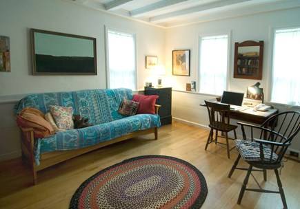 'The Back Woods,'  Wellfleet Cape Cod vacation rental - First floor study. Futon is full size. Bathroom right outside the