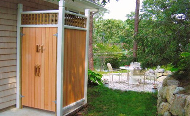 Chatham Cape Cod vacation rental - Outdoor shower and outdoor dining/sitting area overlooking pond