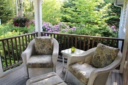 Chatham Cape Cod vacation rental - Covered lighted entry porch with cushioned wicker furniture