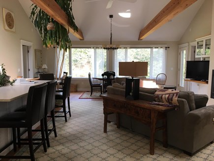 Chatham Cape Cod vacation rental - Front entrance into Living Rm, cathedral ceiling & ceiling fan