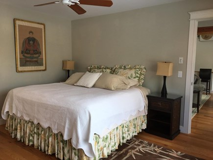 Chatham Cape Cod vacation rental - East Master bedroom w/king, partial view of living room