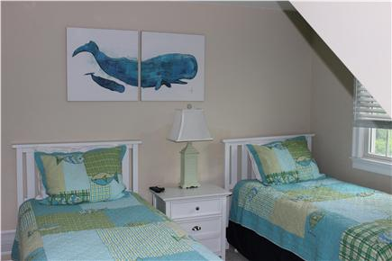 West Yarmouth Cape Cod vacation rental - Fourth bedroom with two beds and wall mounted TV