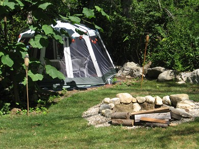 Dennis Cape Cod vacation rental - Outdoor area with screen porch and firepit