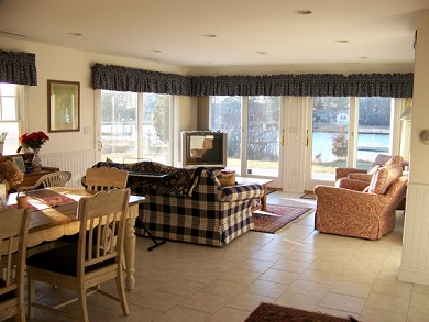 Mashpee Cape Cod vacation rental - Open kitchen/living room overlooking the water