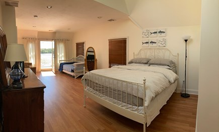 Onset- On the water MA vacation rental - Large Master bdrm with queen and 2 twin trundle- water view/deck