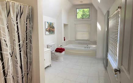 Onset- On the water MA vacation rental - Large master bath- tub and separate shower