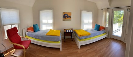 Onset- On the water MA vacation rental - Bedroom with two twin beds, deck access, water view