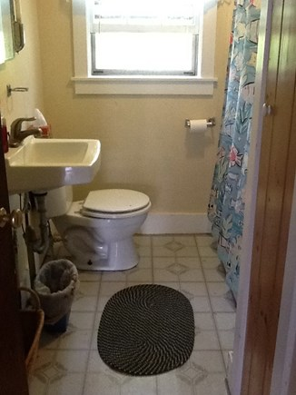 Wellfleet Cape Cod vacation rental - Bathroom with tub shower, small closet