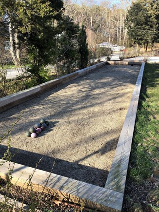 West Falmouth Cape Cod vacation rental - Full size Bocce court in the front yard.