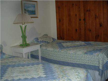Wellfleet Cape Cod vacation rental - First floor twin corner bedroom, windows toward our gardens