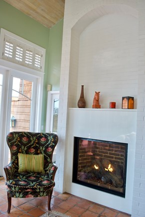 Chatham Cape Cod vacation rental - White marble gas fireplace in 'grand' west wing' living room
