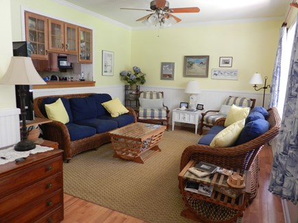 Harwichport Cape Cod vacation rental - Living room with pass-through to kitchen.