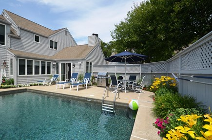 New Seabury, Mashpee New Seabury vacation rental - Private pool and patio area with gas grill.
