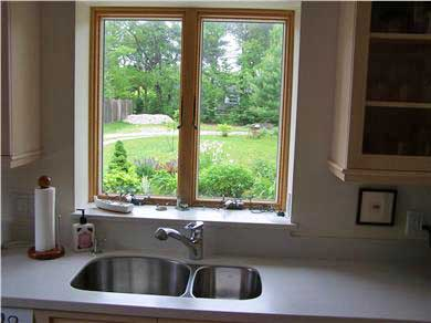 Chatham Cape Cod vacation rental - Kitchen view of Perennial Flower Garden & flat Lawn facing south
