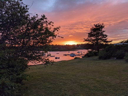 Chatham's Old Village Cape Cod vacation rental - Sunset and water view in front of the cottage
