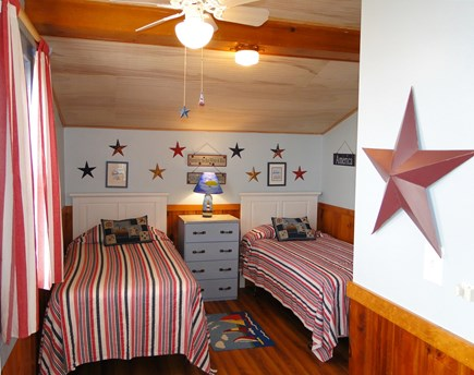 Dennis Port Sea Street Beach Cape Cod vacation rental - Twin bedroom with A/C, ceiling fan and water view