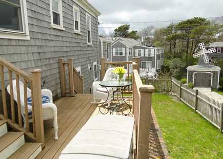 Dennis Port Sea Street Beach Cape Cod vacation rental - Back deck area, showing back yard