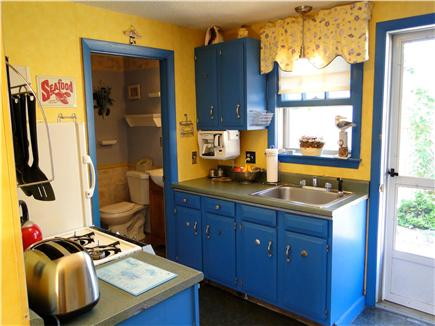 Dennisport Cape Cod vacation rental - Kitchen area, door to back patio