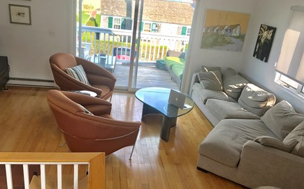 Provincetown Cape Cod vacation rental - Living room with front facing sliding doors to deck.