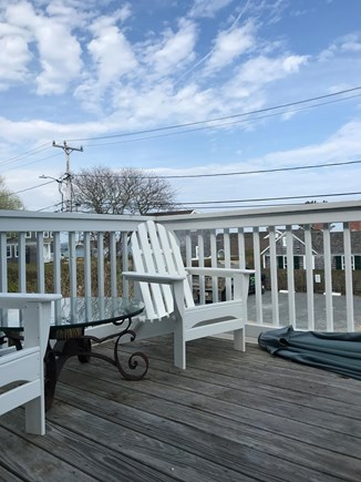 Provincetown Cape Cod vacation rental - Front facing deck with chairs and sofa to relax and enjoy.